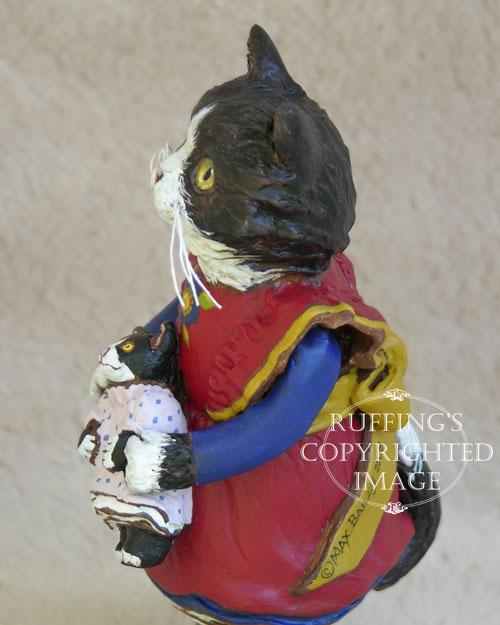 Emmy the Tuxedo Kitten, Original One-of-a-kind Folk Art Doll Figurine by Max Bailey