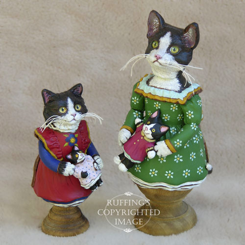 Emmy the Tuxedo Kitten, Original One-of-a-kind Folk Art Doll Figurine by Max Bailey