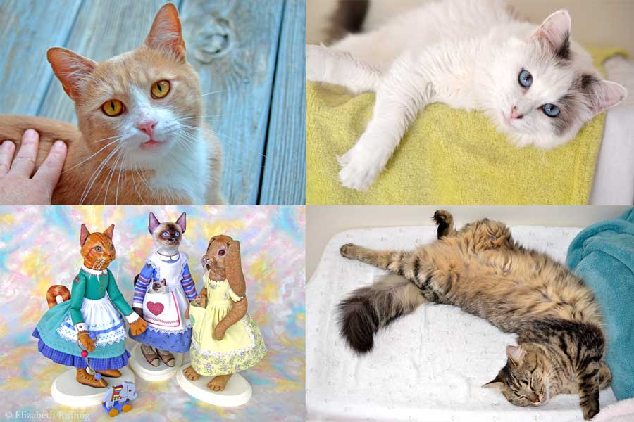 Anthropomorphic cat and bunny rabbit dolls by Elizabeth Ruffing and Max Bailey, and rescued kitty cats