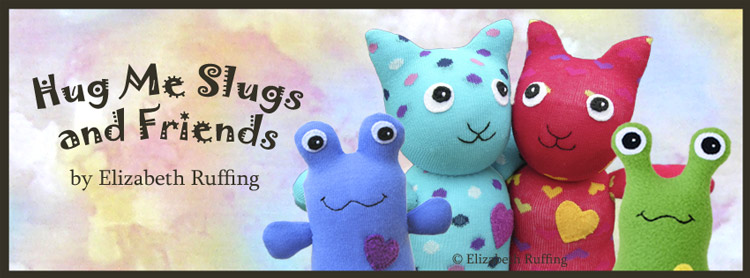 Hug Me Slugs and Friends by Elizabeth Ruffing, banner with Hug Me Cats, Toad, and Slug