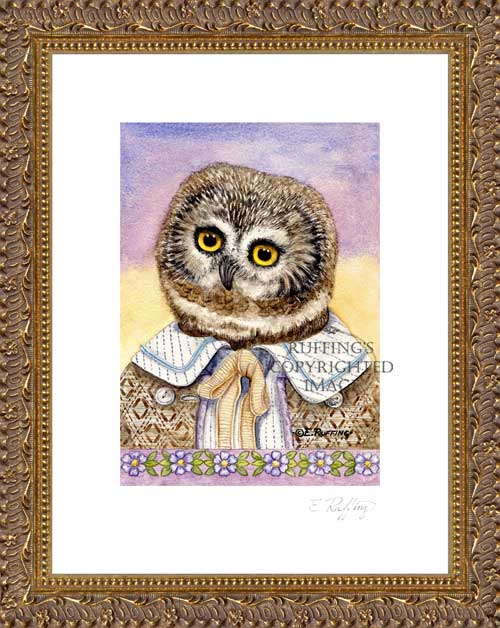 """Henry the Owl"" by Elizabeth Ruffing Print Framed"