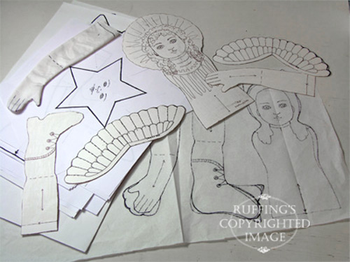 Elizabeth Ruffing's doll pattern sketches