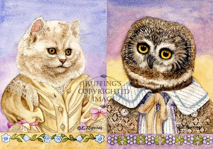 """The Owl and the Pussycat"" print set by Elizabeth Ruffing"