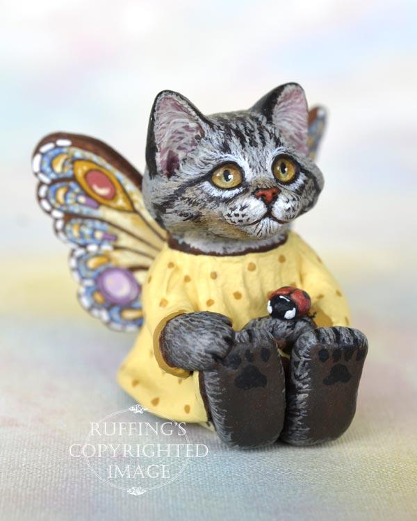 Evaline, miniature silver tabby Maine Coon fairy cat art doll, handmade original, one-of-a-kind kitten by artist Max Bailey
