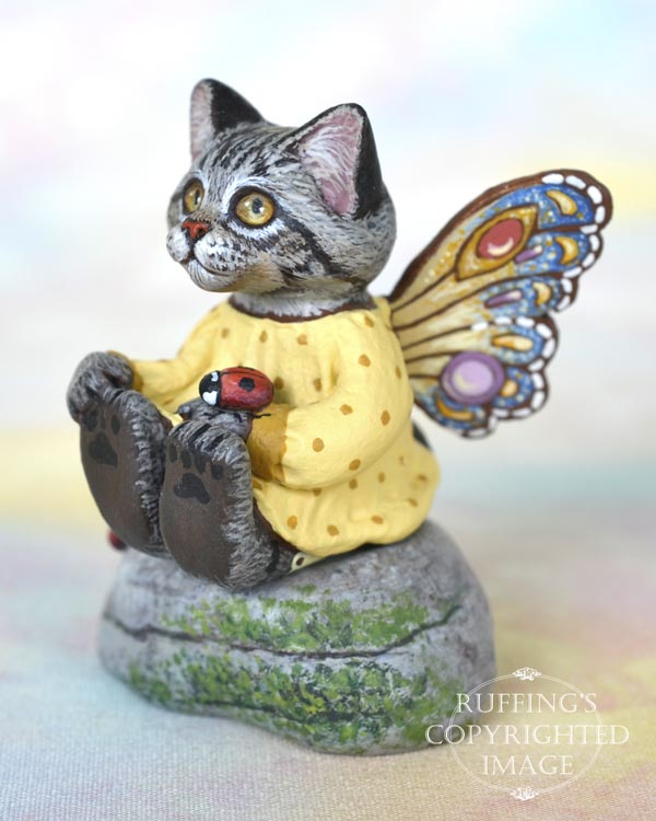 Evaline, miniature silver tabby Maine Coon fairy cat art doll, handmade original, one-of-a-kind kitten by artist Max Bailey