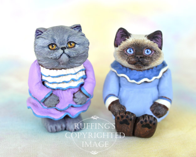 Fancy and Darla, miniature Blue Persian and Ragdoll cat art dolls, handmade original, one-of-a-kind kittens by artist Max Bailey