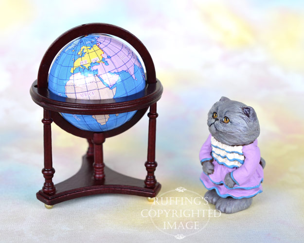Fancy, miniature Blue Persian cat art doll, handmade original, one-of-a-kind kitten by artist Max Bailey