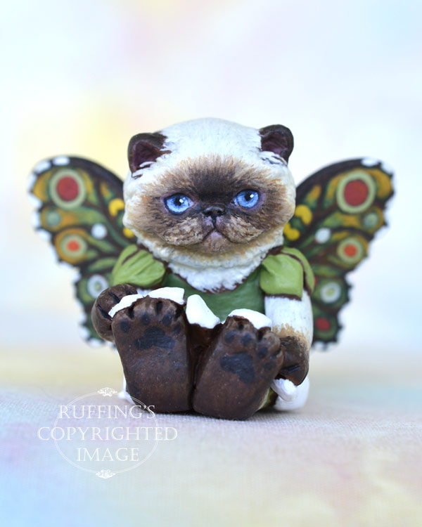 Fern, miniature Himalayan cat art doll, handmade original, one-of-a-kind kitten by artist Max Bailey