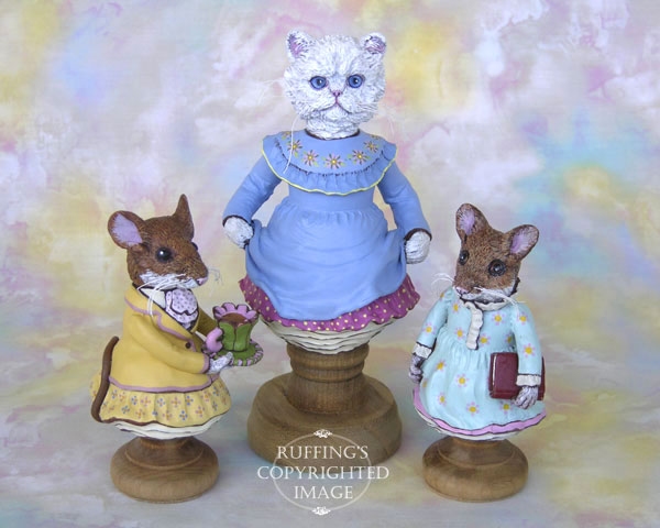 Maybelle Mouse, Floradora, and Marla Mouse, Original One-of-a-kind Folk Art Cat and Mouse Doll Figurines by Max Bailey