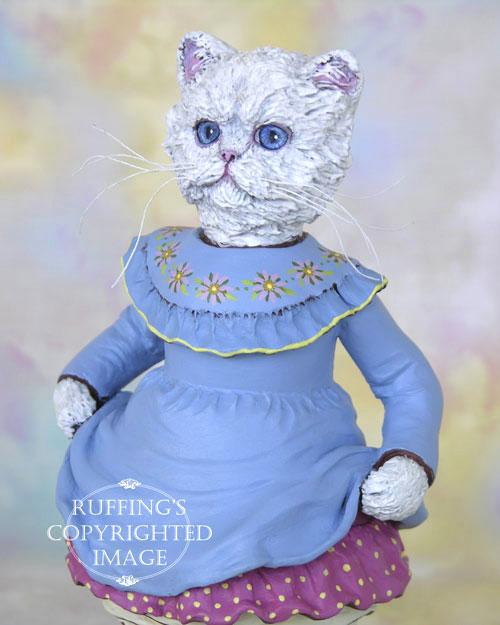 Floradora, Original One-of-a-kind White Persian Folk Art Cat Doll Figurine by Max Bailey