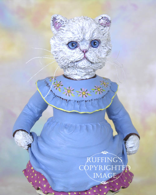 Floradora, Original One-of-a-kind White Persian Folk Art Cat Doll Figurine by Max Bailey