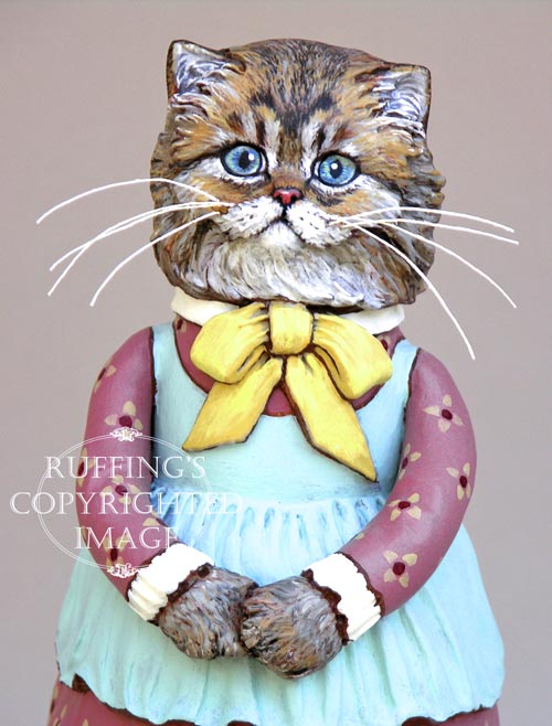 Fluffy, Original One-of-a-kind Persian Tabby Cat Folk Art Doll Figurine by Max Bailey