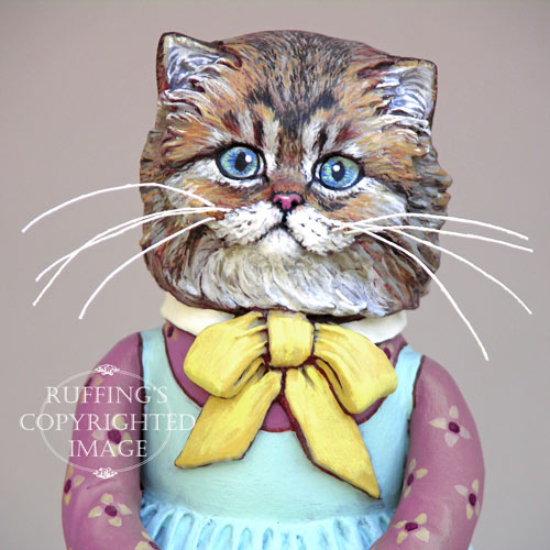 Fluffy, Original One-of-a-kind Persian Tabby Kitten Folk Art Doll Figurine by Max Bailey