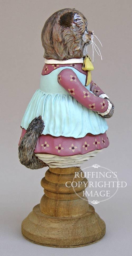 Fluffy, Original One-of-a-kind Persian Tabby Kitten Folk Art Doll Figurine by Max Bailey