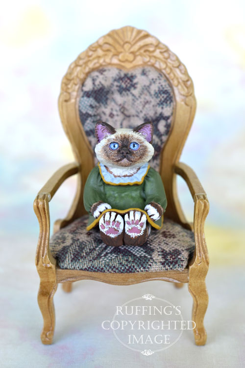 Francesca, miniature Birman cat art doll, handmade original, one-of-a-kind kitten by artist Max Bailey