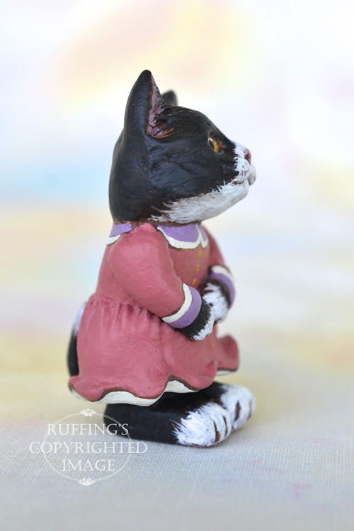 Francine, Original One-of-a-kind Dollhouse-sized Black-and-white Tuxedo Kitten by Max Bailey