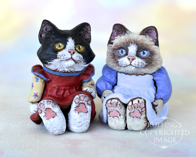 Frannie and Rosie, Original One-of-a-kind Dollhouse-sized Tuxedo and Ragdoll Kitten Art Dolls by Max Bailey