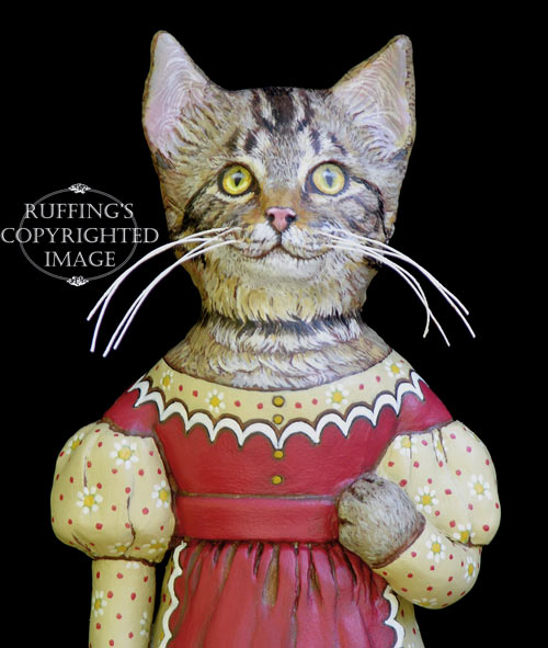 Frannie, Original One-of-a-kind Tabby Cat Folk Art Doll Figurine by Max Bailey