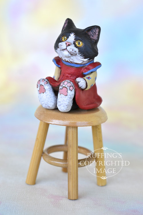 Frannie, Original One-of-a-kind Dollhouse-sized Black-and-white Tuxedo Kitten by Max Bailey