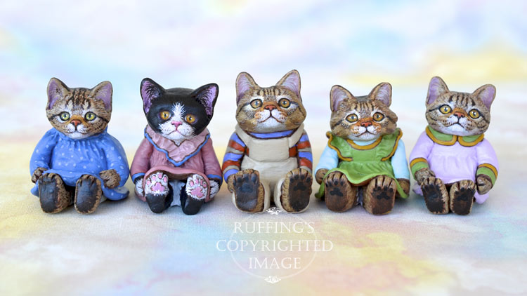 Miniature cat art dolls, handmade original, one-of-a-kind kittens by artist Max Bailey