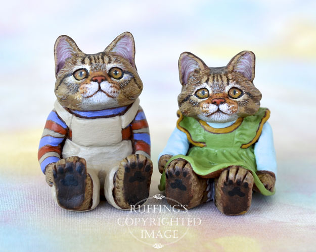 Freddie and Gina, miniature tabby Maine Coon cat art dolls, handmade original, one-of-a-kind kitten by artist Max Bailey