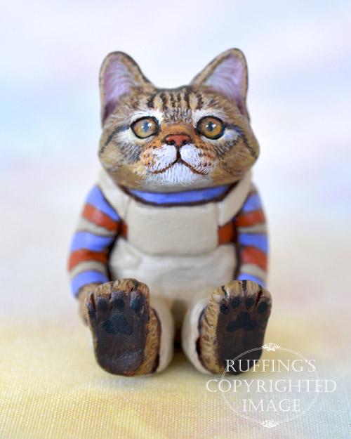 Freddie, miniature tabby Maine Coon cat art doll, handmade original, one-of-a-kind kitten by artist Max Bailey
