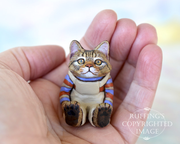 Freddie, miniature tabby Maine Coon cat art doll, handmade original, one-of-a-kind kitten by artist Max Bailey