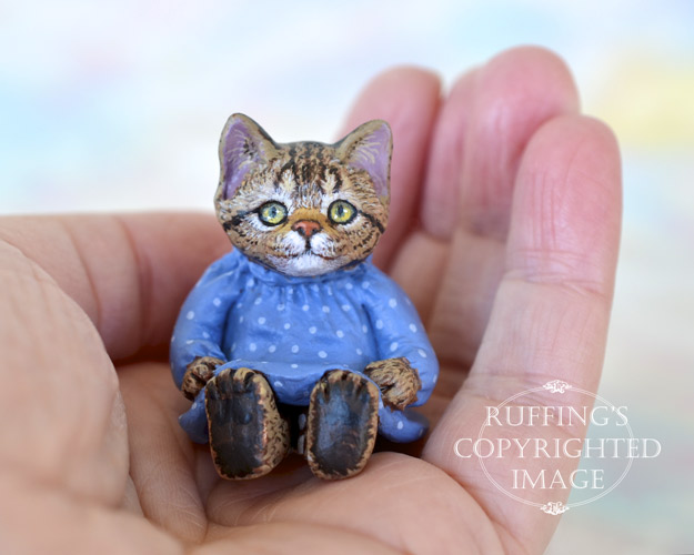 Fritzie, miniature tabby cat art doll, handmade original, one-of-a-kind kitten by artist Max Bailey