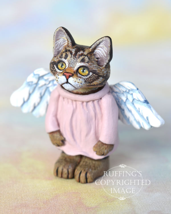 Genevieve, miniature angel tabby Maine Coon cat art doll, handmade original, one-of-a-kind kitten by artist Max Bailey