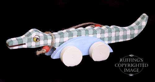George, One-of-a-kind Folk Art Gingham Alligator by Max Bailey