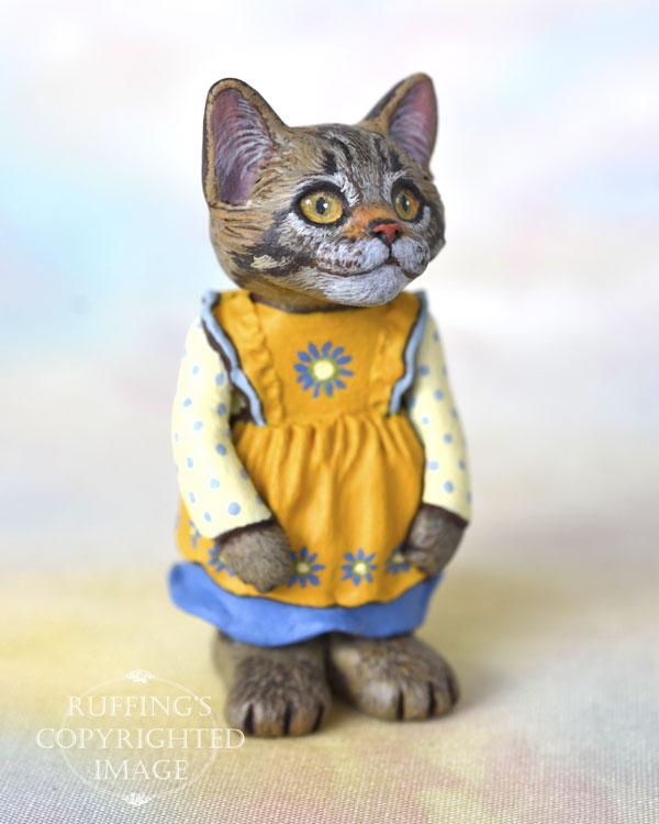 Geraldine, miniature tabby Maine Coon cat art doll, handmade original, one-of-a-kind kitten by artist Max Bailey