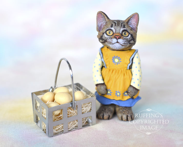 Geraldine, miniature tabby Maine Coon cat art doll, handmade original, one-of-a-kind kitten by artist Max Bailey