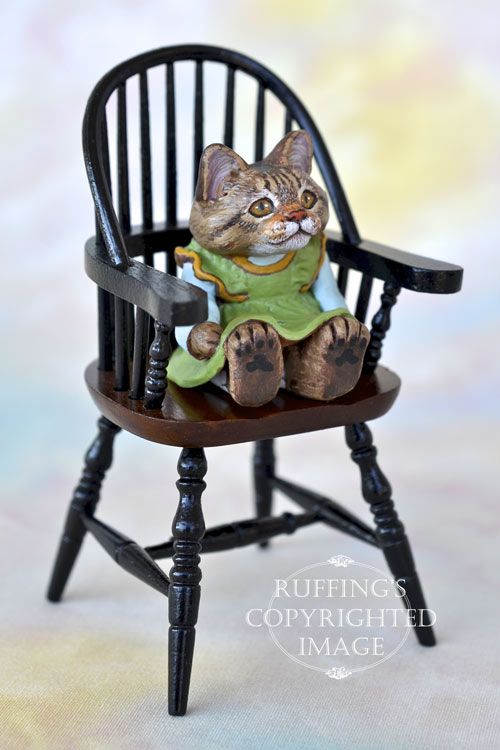 Gina, miniature tabby Maine Coon cat art doll, handmade original, one-of-a-kind kitten by artist Max Bailey