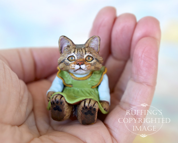 Gina, miniature tabby Maine Coon cat art doll, handmade original, one-of-a-kind kitten by artist Max Bailey