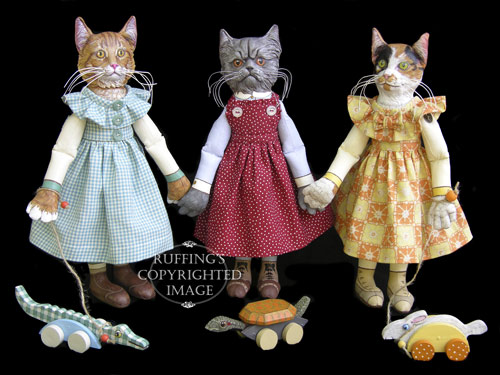 Ginger and George, Crabby Alice and Ruthie, and Hedda and Hopper, Original One-of-a-kind Folk Art Cat Dolls by Max Bailey