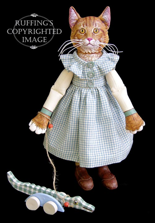 Ginger and George, Original One-of-a-kind Tabby Cat Folk Art Dolls by Max Bailey