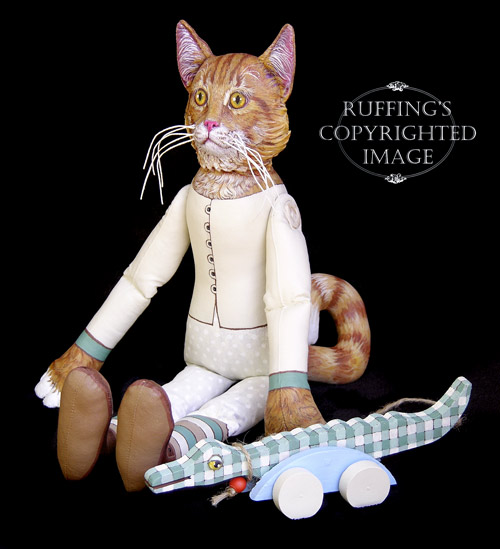 Ginger and George, Original One-of-a-kind Folk Art Tabby Cat Doll with Alligator by Max Bailey