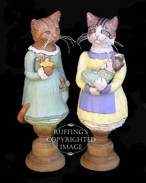 Ginnie, Belinda and BoBo, Original One-of-a-kind Tabby Cat Folk Art Doll Figurines by Max Bailey