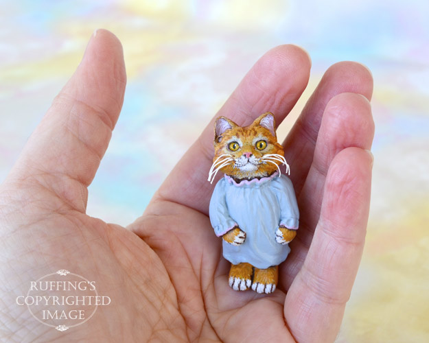 Ginnie, miniature ginger tabby original one-of-a-kind art dolls by Max Bailey