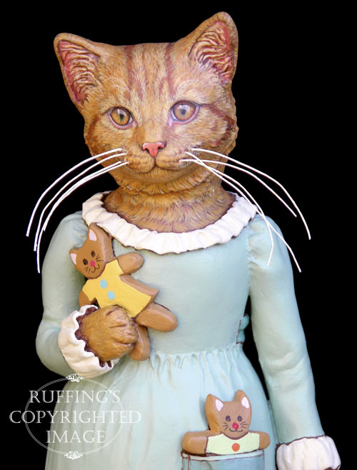 Ginnie, Original One-of-a-kind Ginger Tabby Cat Folk Art Doll Figurine by Max Bailey
