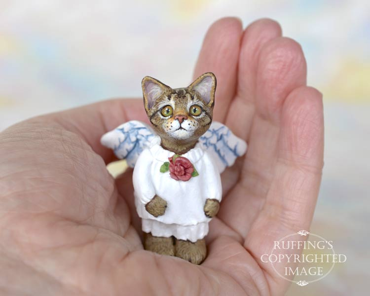 Glider, miniature tabby cat angel art doll, handmade original, one-of-a-kind kitten by artist Max Bailey