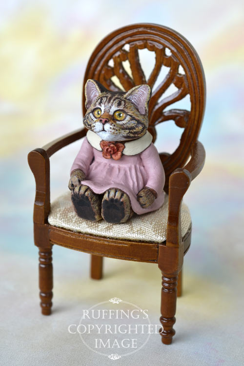 Gloria, miniature Maine Coon tabby cat art doll, handmade original, one-of-a-kind kitten by artist Max Bailey
