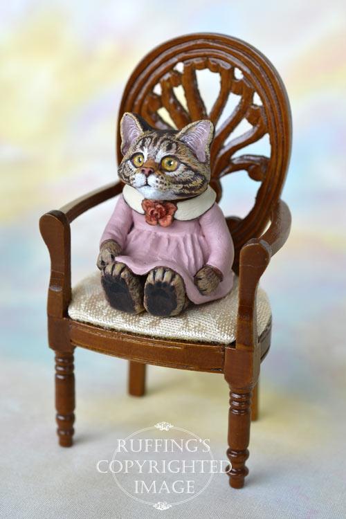 Gloria, miniature Maine Coon tabby cat art doll, handmade original, one-of-a-kind kitten by artist Max Bailey