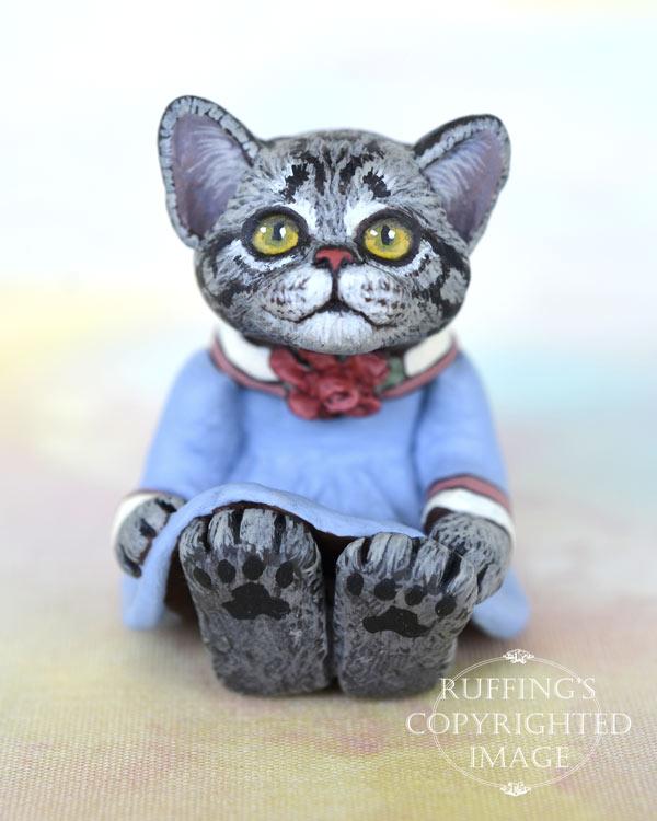 Gracie, miniature American Shorthair cat art doll, handmade original, one-of-a-kind kitten by artist Max Bailey