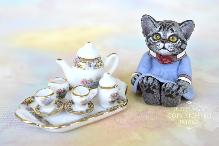 Gracie, miniature American Shorthair cat art doll, handmade original, one-of-a-kind kitten by artist Max Bailey