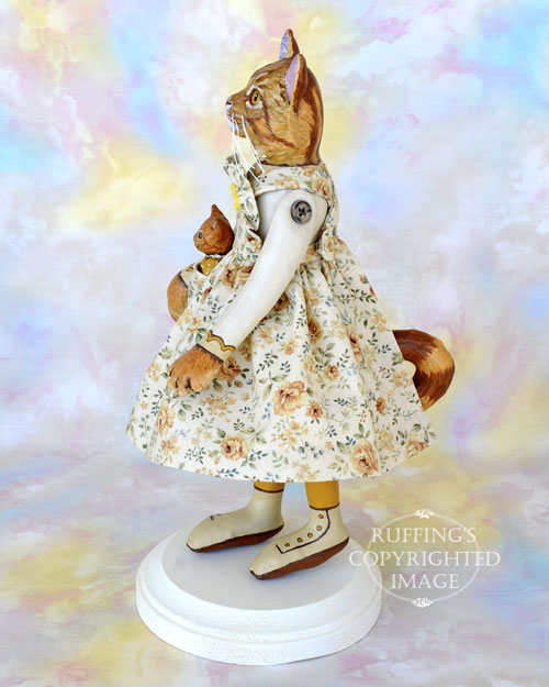 Gracie and Georgia, Original One-of-a-kind Ginger Tabby Cat and Kitten Art Dolls by Max Bailey