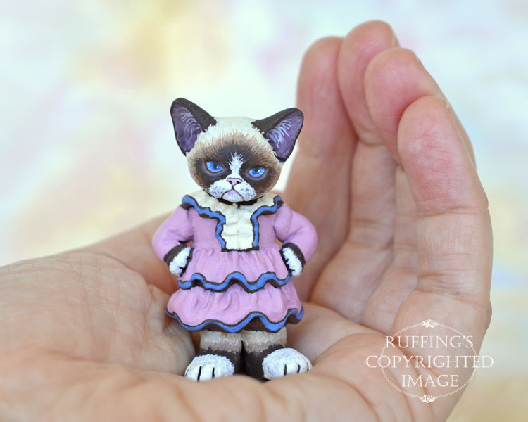Gracious, miniature crabby Himalayan cat art doll, handmade original, one-of-a-kind kitten by artist Max Bailey