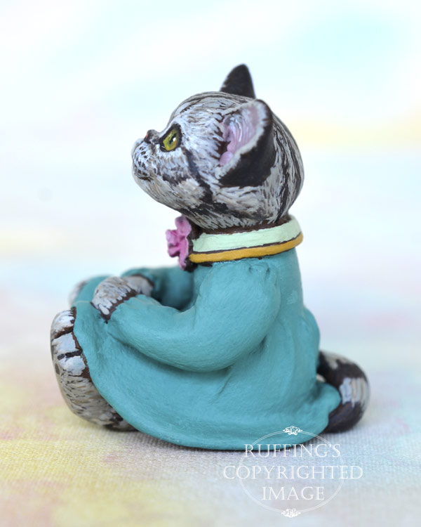 Gretchen, miniature sliver tabby American Shorthair cat art doll, handmade original, one-of-a-kind kitten by artist Max Bailey