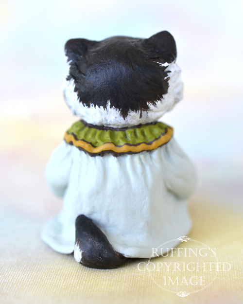 Gretchen, miniature black and white bi-color Persian cat art doll, handmade original, one-of-a-kind kitten by artist Max Bailey
