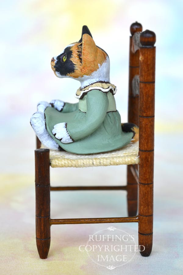 Gypsy, miniature calico cat art doll, handmade original, one-of-a-kind kitten by artist Max Bailey